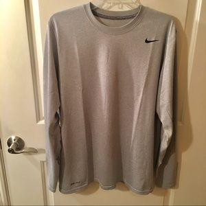Nike Dri-Fit Long Sleeve Light Gray T-Shirt Size L